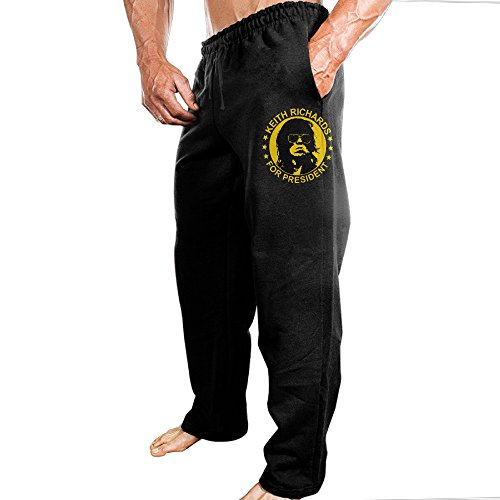 Men's Keith Richards For President Athletic Cotton Lounge Pajama Pants Black