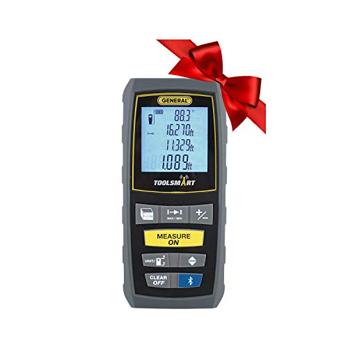 General Tools TS01 100' Laser Measure, Bluetooth Connected, Calculates Area, Distance and Volume, Real-Time ()