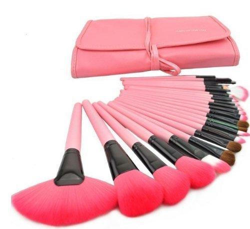 My Beauty®24pcs Professional Wool Cosmetic Makeup Brush Set Kit Brushes Tools Make up Case-pink