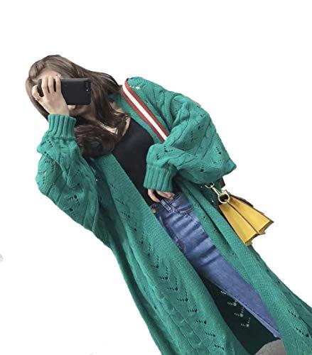 Maruya レディース カーディガン ニットコート 長袖 ロングコート 透かし彫り ニット 無地 セーター 無地 通勤 春 秋