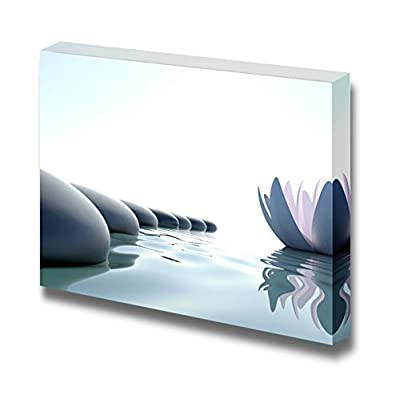 Canvas Prints Wall Art - Zen Flower Loto Near Stones on White Background - 12