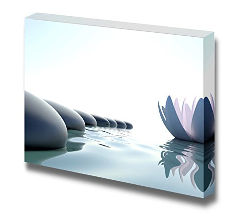 Canvas Prints Wall Art - Zen Flower Loto Near Stones on White Background - 24