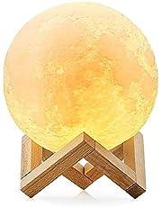 مصباح دائري بتصميم ضوء القمس مقاس 13 سم، 9 ألوان متغيرة الوهم البصري مع قاعدة حامل خشبي لغرفة نوم الأطفال وحضانة الأطفال، مصباح ليلي مطبوع عليه قمر ثلاثي الأبعاد