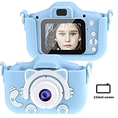 Tocosy Kids Digital Camera HD 12MP Mini Selfie Little Child Camcorder Video Record Photography Toys Birthday Gifts for Girls Boys Toddlers Age 3-15 (Dual Camera, Cat Blue): Camera & Photo