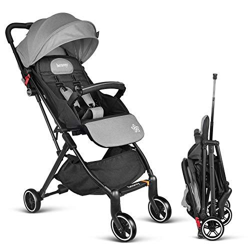 Lightweight Stroller - Besrey Baby Stroller Pram Baby Carriage Baby Pushchair Suitable for Airplane - Gray