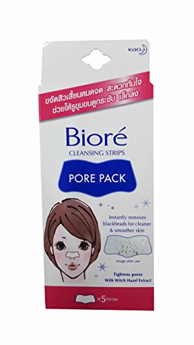 Price comparison product image 4 packs of Biore Cleansing Strips Pore Pack, Instantly removes blackheads for cleaner and smoother skin. Tightens pores with Witch Hazel extract. (5 strips / pack)