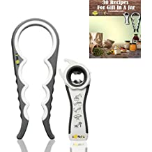 Lovatic Jar Opener Bottle Opener  -  Premium Kitchen Gadgets - Twist Off Lids Set - Easy Grip Jar and Can Lid Opener For Seniors/Arthritis Suffers -  Ebook with 30 Ideal Recipes With Jar