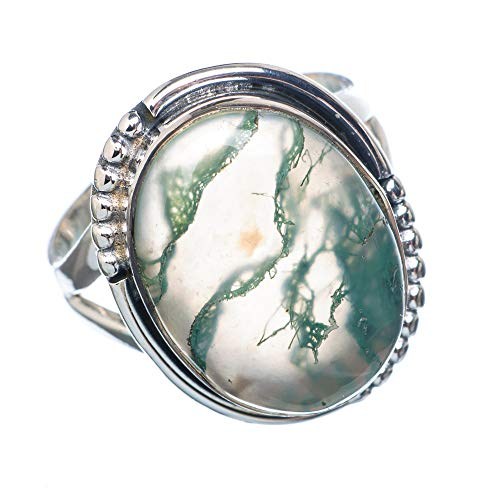 Green Moss Agate Ring Size 7.75 (925 Sterling Silver) - Handmade Boho Vintage Jewelry RING922087 ()