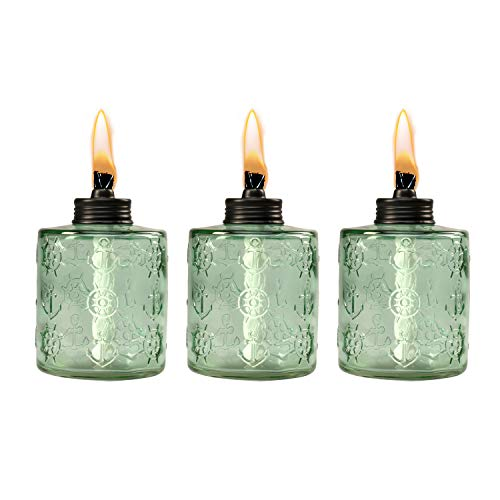 TIKI Brand  1118129 Set Sail Glass Table Torch 3-Pack 5.5-inch, Green -