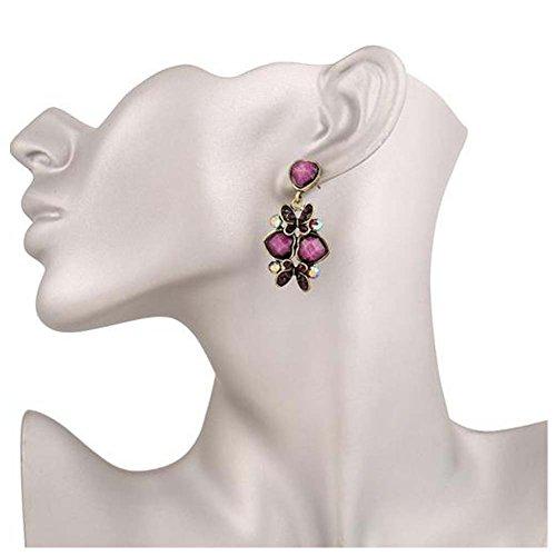 GERGER BO Bohemian National Butterfly Fluttering Alloy Diamond Earrings(Purple)