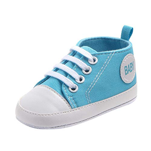 Newborn Canvas Shoes FAPIZI Infant Baby Boys Girls Solid Bandage Anti-Slip Soft Shoes Sneaker Sky Blue
