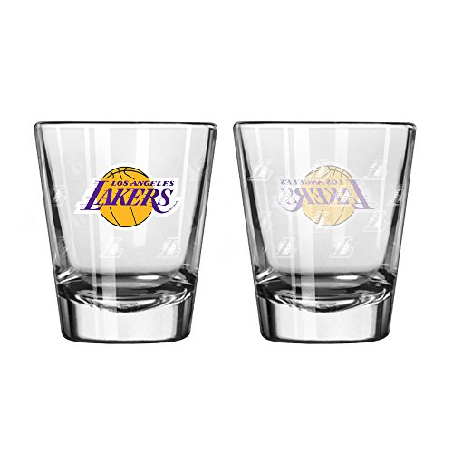 (NBA Los Angeles Lakers Satin Etch Shot Glass Set, 2-ounce, 2-Pack)