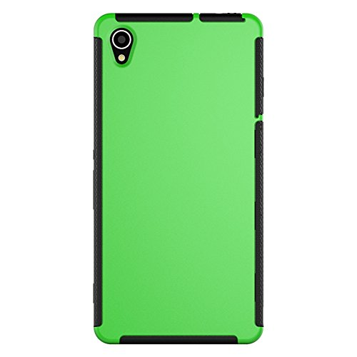 Turpro™ 3-in-1 Dual layer Armor Hybrid Silicone Bumper case with Hard Back Cover and Built- in Screen Protector for Sony Xperia Z3 (Green)