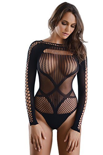Killer Legs Fishnet Bodystocking Back Cut Out Faux Lace up Long Sleeve Thong Back Bodysuit, 818JT166