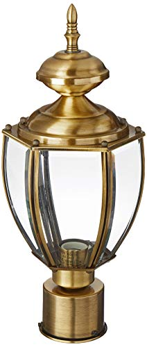 - Livex Lighting 2009-01 Outdoor Basics 1 Light Antique Brass Post-Top Lanterm,