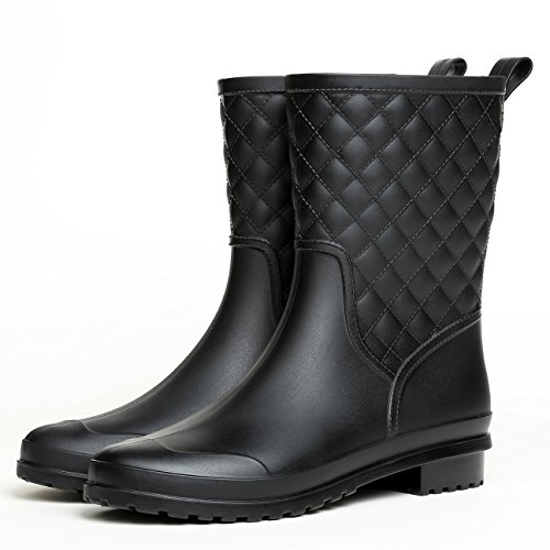 Litfun Womens Black Mid Calf Rain Boots Outdoor Garden Work Waterproof Boots Wide Calf Rain Shoes