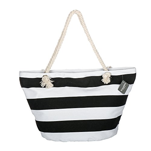 Stripe Beach Tote - Large Cotton Beach Bag Tote ,RiscaWin Zipper Top Rope Handles Beach Bag(Black Stripe)
