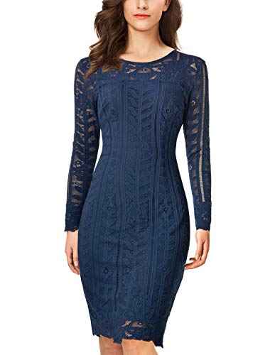 Noctflos Women's Floral Lace Long Sleeve Bodycon Pencil Cocktail Party Dress (X-Large, Navy Blue)