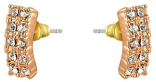 Epinki Stud Earrings for Women Girls Gold Plated Women Stud Earrings Rose Gold Austrian Crystal Rectangle Stud Earrings Cubic Zirconia Earrings ()