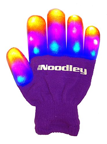 The Noodley's Children LED Finger Light Gloves - Purple/White Light up Gloves Girls Toys