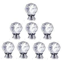 Yahead 8pcs 30mm Clear Diamond Crystal Glass Door Knobs Cabinet Drawer Wardrobe Cupboard Locker Pull Handle Home Kitchen Hardware Knobs