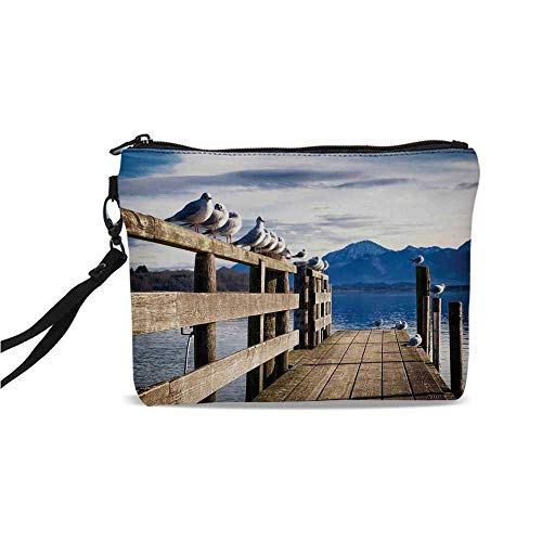 Landscape Simple Cosmetic Bag,Seagulls on Old Wooden Jetty Lakeside Hills in Bavaria Landscape Picture for Women,9