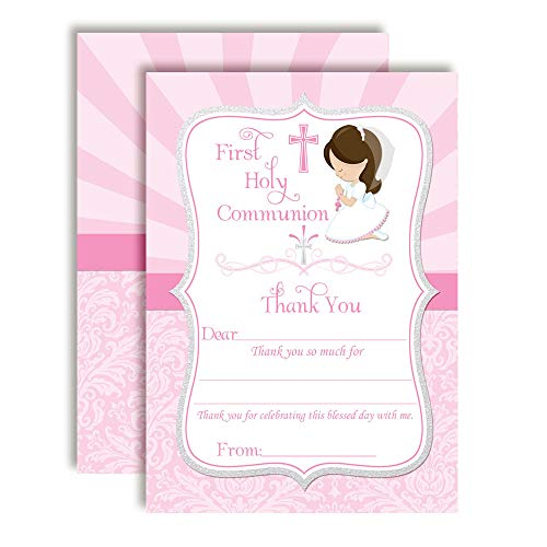 (First Holy Communion Religious Thank You Notes for Girls, Ten 4