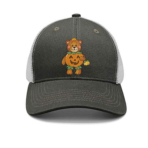 Unisex Vintage Mesh Trucker Cap-Halloween Pumpkin Bear Style Low Profile Travel Sunscreen Hat Outdoors ()