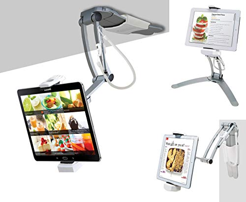 CTA Digital PAD-KMS 2-in-1 Kitchen Desktop Tablet Stand Wall Mount Holder with Stylus for 7-13 Inch Tablets/iPad 2018/iPad Pro 12.9/7/Air/Mini, Galaxy Tab S3 9.7, Surface Pro 4/5/6, Nintendo Switch ()