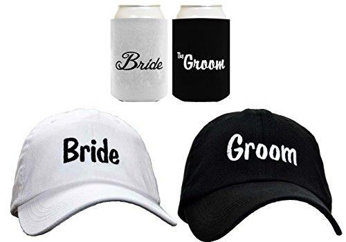 Bride Groom Matching Hat Cap Can Coolie Wedding Gift Set Bundle Black-White
