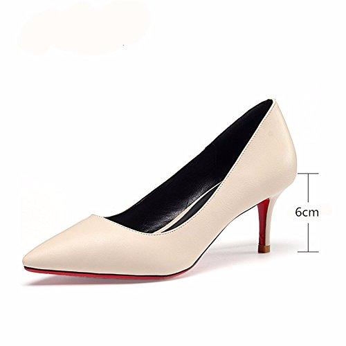 profondo tacco Primavera donne evidenziate beige moda scarpe e poco autunno bocca professionali alto Hxvu56546 B1qApn