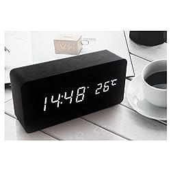 LED Wood Block Table Alarm Noiseless Clock