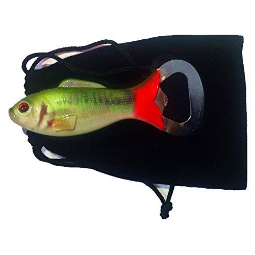 Bass Fish Shape Beer Bottle Opener Fishing Lure Opener Fishing Creative Gift Angler Gift (Green)