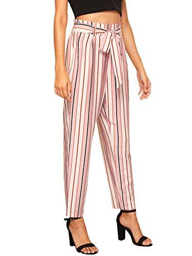(WDIRARA Women's Stripe Pants Trouser Slim Casual Paper Bag Self Tie with Pockets Pink XS )