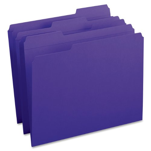 Smead File Folder, Reinforced 1/3-Cut Tab, Letter Size, Purple, 100 per Box (13034)