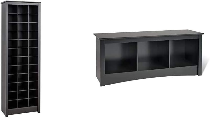 Prepac Shoe Storage Cabinet, 36 Pair Rack, Black & Sonoma 3-Cubbie Bench, Black