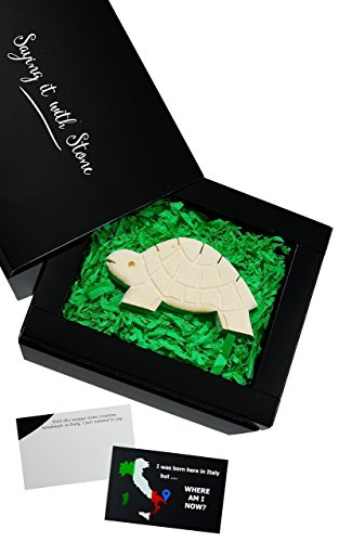 Tortoise Turtle Unique Gift ❤ Elegant gift box & blank message card - Rare Italian stone contains fossil fragments - Symbol of Life Enjoyment and Determination - birthday retirement (West Highland Terrier Poodle)