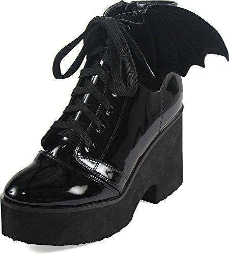 Järnhand - Kvinnor Bat Wing Patent Boot Black Patent