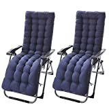 ZhongYe 1Pair Sun Lounger Cushion Pads Replacement with Non-Slip Top Cover Garden Patio Thick Chair Recliner Relaxer Pad Blue