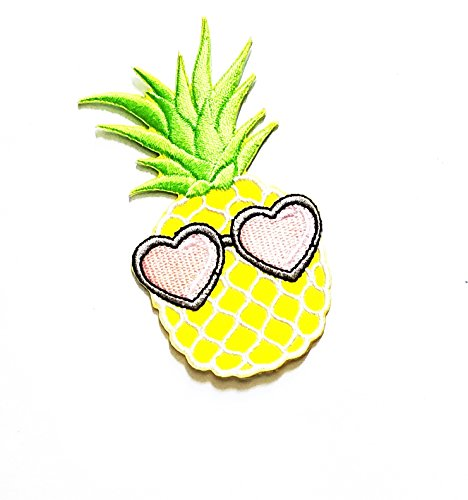 pple Fruit with Heart glasses Cartoon kid Patch Sew Iron on Embroidered Applique Symbol Jacket T-shirt Badge Costume for Birthday Gift ()