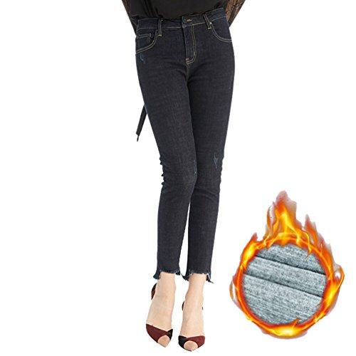 CHENGYANG Femme pais Jeans Slim Taille Haute Collant Crayon Stretch Pantalons Denim Fonc Bleu