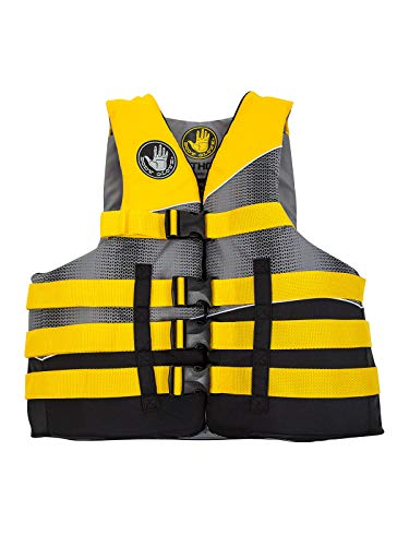 Body Glove Mens Method Life Pfd Jacket, Black/Yellow/Silver/Grey, XXL/XXXL