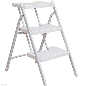Quanqiugou Escalera Escalera de Acero Antideslizante, Escalera Plegable de Tres peldaños, Tubo de Hierro Grueso, más Fuerte, Capacidad de rodamiento, fácil de Plegar y almacenar: Amazon.es: Hogar