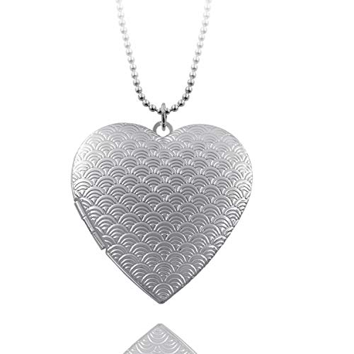 Big Heart Locket Necklace That Holds Pictures for Women Girls Large Plus Lockets Mothers Day Present ()