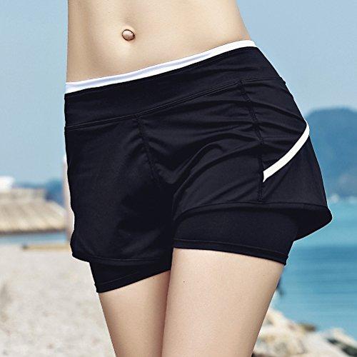 Nero Sportivi Palestra Ragazza Woman Pantaloni Estivi Elegante Abbigliamento Pantaloncini Shorts Moda Moda Solido Donna Rapida Asciugatura Jogging Yoga Elasticità Casuali pddqHYx