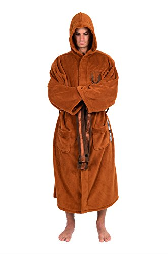 (Star Wars Mens Fleece Graphic Long Robe Brown)