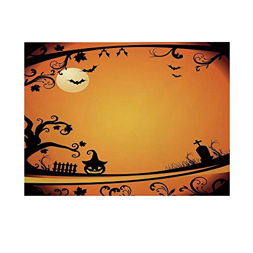 Vintage Halloween Photography Background,Halloween Themed Eerie Atmosphere Gravestone Evil Pumpkin Moon Decorative Backdrop for Studio,8x7ft]()