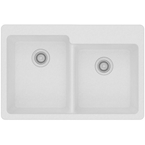 - Elkay Quartz Classic ELG250RWH0 White Offset Double Bowl Top Mount Sink