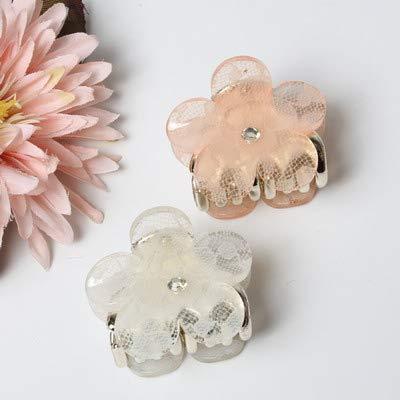 Claw Hair - 2pcs/set 4cm Petal Flower Acrylic Lace Hair Claws For Wemen Hair Clip Shining Hair Accessories For Girls