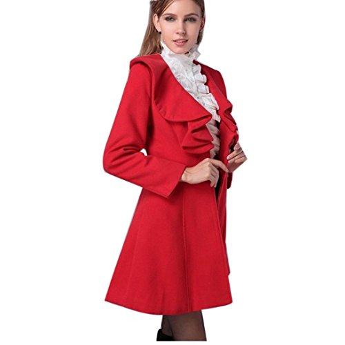 Parka Tonsee Long Femmes Manteau Chaud Slim Trench Mode Veste Coupe Vent Outwear Rouge XvqrX